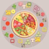 grund pizza för djupfältingredienser Arkivbild