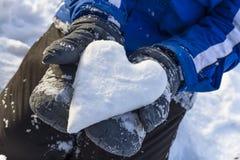 grund snow för djupfälthjärta Royaltyfri Bild