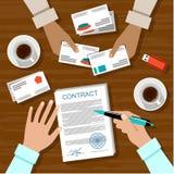 grund underteckning för avtalsdjupfält Arkivbilder