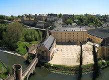 Grund valley and alzette river. Luxembourg. Traditionnal houses near Alzette river in the grund valley, center of Luxembourg city Stock Images