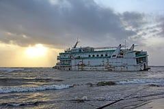 Grundade Marine Vessel Arkivfoto