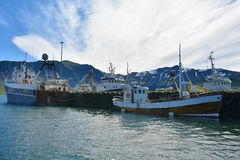 Grundarfjordur harbor. Fisher boats in the harbor of Grundarfjordur, a small town with seafood manufacturing at Snaefellsnes peninsula, Iceland stock photography