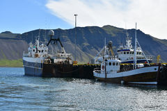 Grundarfjordur harbor. Fisher boats in the harbor of Grundarfjordur, a small town with seafood manufacturing at Snaefellsnes peninsula, Iceland royalty free stock photo