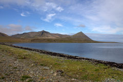 Grundarfjordur Snaefellsnes penisula in Iceland. View at the fjord and volcanic hills stock photos