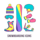 Grundausstattung für Snowboarding Bunter Satz von Snowboarding I Stockfotografie