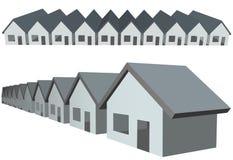 Grundbesitz des Reihenhaus-Eigentumswohnungaufbaus Stockbilder
