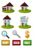 Grundbesitz-Ikonenset Lizenzfreies Stockfoto