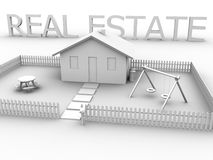 Grundbesitz mit Haus Stockbild