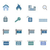 Grundbesitz-Symbol-Ikonen-Set Lizenzfreie Stockfotos