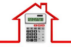 Grundbesitzkonzept 6 Abstraktes Haus mit Taschenrechner Stockfoto