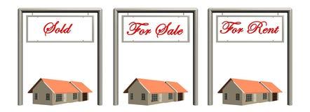 Grundbesitzzeichen mit Häusern. Stockfotografie