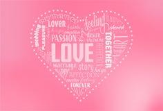 Grunden för RVB de, hjärta formade ordmolnet som innehåller ord släkta valentins dag royaltyfria bilder