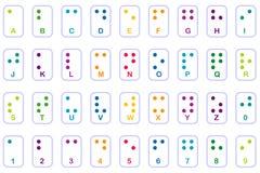 grunderna färgrika braille Royaltyfri Fotografi