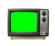 Grundgy Old Television With Chroma Key Green Screen. Grungy dirty old television on white with chroma key green screen royalty free stock photos