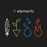 Grundläggande beståndsdelar för natur: Vatten brand, jord, luft Symboler på Arkivbilder