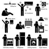 Grundläggande elektroniska anordningar Cliparts för hem- hus Royaltyfria Foton