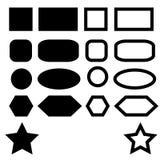 Grundläggande formbeståndsdelar med uppsättningen av den skarpa och runda vektorn för kantkanter också vektor illustrationer