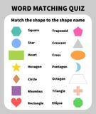 Grundläggande former som matchar frågesport Lära 2D former för barn Royaltyfria Bilder