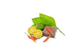 Grundläggande ingredienser av shrimdeg eller Arkivbild