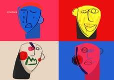 Grundläggande mänskliga sinnesrörelser Färger och sinnesrörelser illustration royaltyfri illustrationer