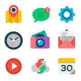 Grundläggande plan symbolsuppsättning för rengöringsduk och mobilapplikation Royaltyfria Foton