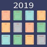 Grundläggande raster för kalender 2019 Mall för enkel design också vektor för coreldrawillustration royaltyfri illustrationer