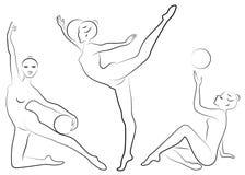 Grundläggande RGBCollection E Flickagymnasten kvinnan ?r b?jlig och behagfull Hon spelar bollen diagram stock illustrationer