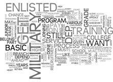 Grundläggande sikt på hur man får värvat i oss militärt ordmoln Arkivbilder