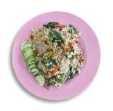 grundläggande stekt risgriskött på rosa färgplattan Arkivbilder
