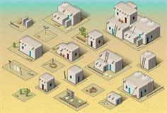 Grundläggande uppsättningtegelplattor för isometrisk västra lantlig Pueblo Arkivfoton