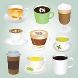 Grundläggande varm drinkuppsättning vektor illustrationer
