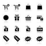 Grundlegend - Einkaufenikonen Stockbilder