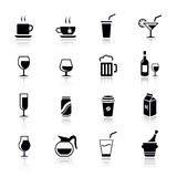Grundlegend - Getränk-Ikonen Stockfoto