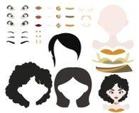Grundlegend kleiden Sie oben Spiel mit unterschiedlichen Gesichtsteilen und -kleidung in der schwarzen und goldenen Palette Stockfotografie