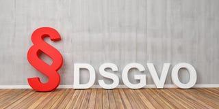 Grundlegende Daten-Schutz-vorgeschriebenes Konzept DSGVO mit rotem Paragraphsymbol auf grauer Betonmauer - Wiedergabe 3D Lizenzfreie Stockbilder