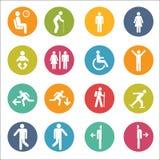 Grundlegende Lage-Leute, die stehendes Ikonen-Zeichen-Symbol-Piktogramm sitzen Stockfoto