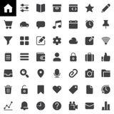 Grundlegende UI-Vektorikonen stellten, moderne feste Symbolsammlung ein Stockfotos