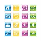 Grundlegende Web-Ikonen des Aqua Lizenzfreie Stockfotografie