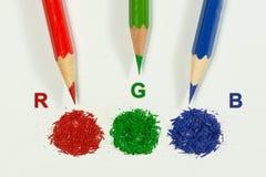 Grundlegender Farbe-, Rot, Grüner und Blauer rgb zeichnet Konzept an Lizenzfreie Stockfotografie