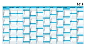 Grundlegender Kalender 2017, übersichtliches Design, blaue Kästen für Sonntag Lizenzfreie Stockfotos