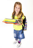 Grundlegender Student Portrait Isolated des kleinen Mädchens Lizenzfreies Stockbild