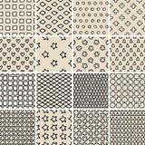 Grundlegendes Gekritzel-nahtloses Muster stellte kein ein 9 in Schwarzweiss Stockfotografie