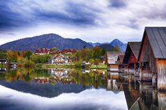 Grundlsee lake in Alps mountains. Mirror reflection. Dramatic and picturesque scene. Location: resort Grundlsee, Liezen District of Styria, Austria, Alps Royalty Free Stock Image