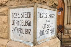 Grundpelare av den holländare omdanade kyrkan i damen Grey arkivfoto