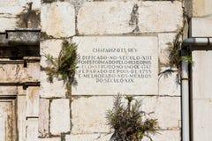 Grundpelare på den forntida Lissabon kyrkan royaltyfri bild