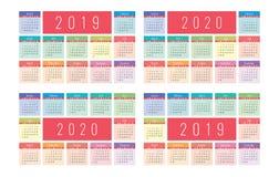 Grundraster des Vektors des Kalenders 2019 und 2020 Bunter Entwurf Stockfoto