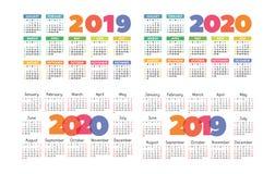 Grundraster des Vektors des Kalenders 2019 und 2020 Bunter Entwurf Stockfotos