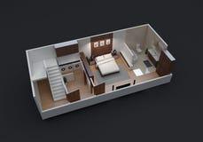 Grundriss 3D der kleinen Wohnungs-Einheit lizenzfreies stockbild