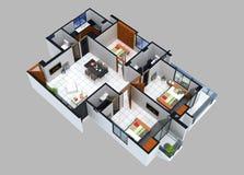 Grundriss 3D einer Wohneinheit stockbild