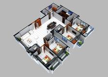 Grundriss 3D eines Wohnsitzes stockfoto